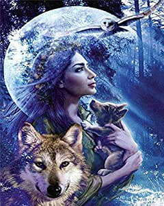 Diamond Painting Kit, Full Drill 5D DIY Rhinestone Embroidery Cross Stitch Arts Craft Gift for Home Wall Decor - Beauty and The Wolves 12x16inch