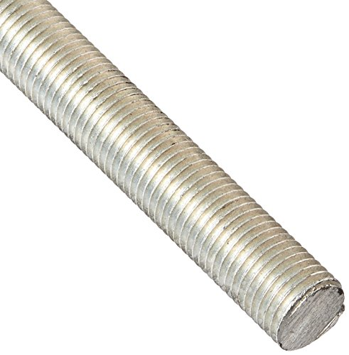 "Precision Brand 039-37280 Threaded Rod, Electro Zinc Plated, 24"" Length, National Fine 7/16-20 Thread, Low Carbon Steel"