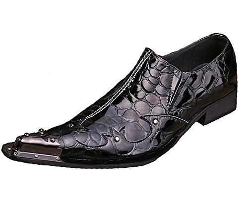 Cover Plus Fashion Alligator Print Leather Steel Pointed Toe Dress Slip On Loafers Mens Shoes (US Size - To Free Australia Delivery