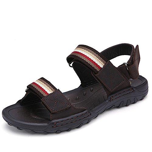 Qxh Cabeza Brown Casual Transpirable Playa Dark Hombres Cuero De Redonda Zapatos Los Sandalias BxB7q4r
