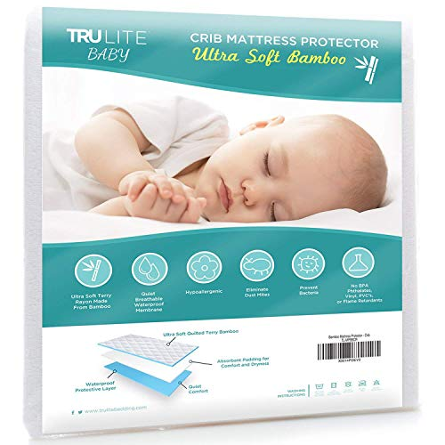 (TRU Lite Bedding Waterproof Baby Crib Mattress Cover - Hypoallergenic Toddler Mattress Protector - Bamboo Rayon Fiber Quilted Terry Fitted Sheet - Protection from Dust Mites & Mold )