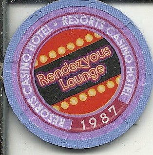 resorts international 1987 rendezvous lounge vintage casino chip atlantic city new jersey ()