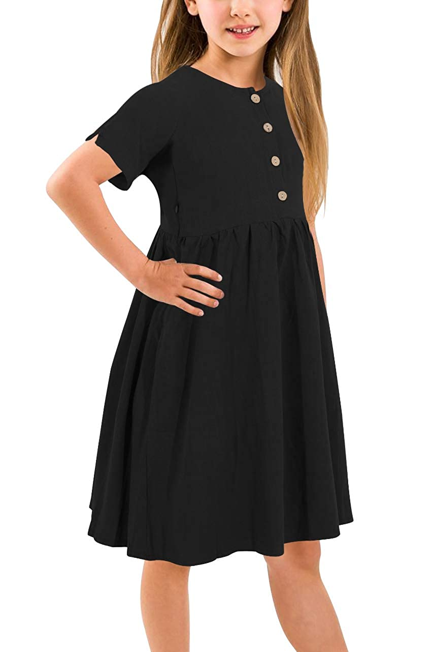 GORLYA Girls Short Sleeve Button Up Pleated Waist Loose Casual Linen Midi Dress with Pockets for 4-12 Years Kids