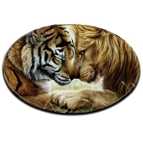 (LB Lion Tiger Round Rug Mat for Living Room Kitchen Dining Room Indoor Floor, Brown African Wildlife Savanna Animal Theme Decoration Area Rug Mat, 2)