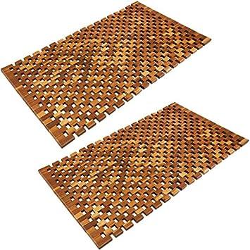 FSC/®-zertifiziertes Akazienholz DEUBA Badvorleger Badematte Badvorleger Holz 80 x 50 cm rutschhemmende Gummistopper