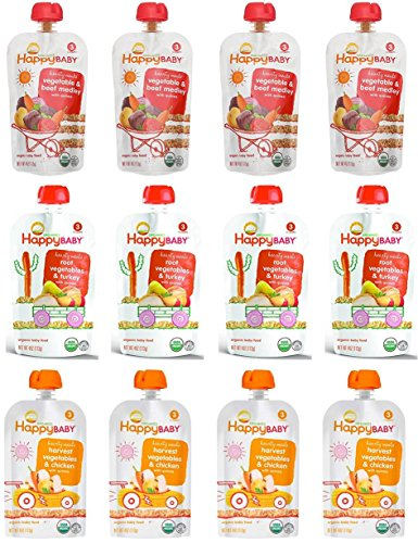 (Happy Baby Organic Baby Food Stage 3 Hearty Meals Variety Pack, 4 oz Pouches, 12-Count, Chicken, Turkey and Beef w/Vegetable and Quinoa)