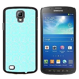 KLONGSHOP // Cubierta de piel con cierre a presión Shell trasero duro de goma Protección Caso - azul olas patrón blanco de surf wallpaper - Samsung Galaxy S4 Active i9295 //