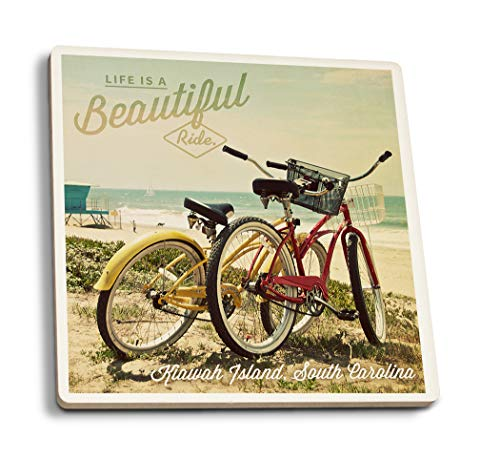 (Lantern Press Kiawah Island, South Carolina - Life is a Beautiful Ride - Beach Cruisers (Set of 4 Ceramic Coasters - Cork-Backed,)