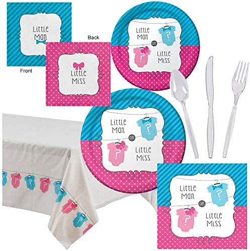 Gender Sex Reveal Party Supplies Kit Boy Girl Baby Shower Pack Decoration Plates Napkins Table Cover Set Serves 16 - Luncheon & Dessert Paper Plates, Napkins, Table Cover, Cutlery Utensils Disposable