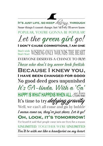 A4 or 8x10 Wicked the Musical Quotes Print Unframed