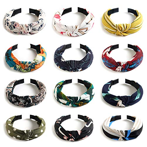 - Kisslife 12 Pack Wide Headbands Knot Turban Headband Hair Band Elastic Plain Fashion Hair Accessories for Women and Girls, Children 12 Colors