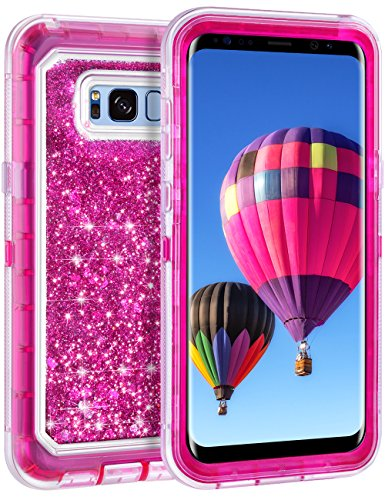 Coolden Floating Glitter Case for Galaxy S8 Plus, Luxury Sparkle Bling Quicksand Cover Shockproof Bumper Dual Layer Anti-Drop PC Frame TPU Back for Samsung Galaxy S8 Plus (Rose)