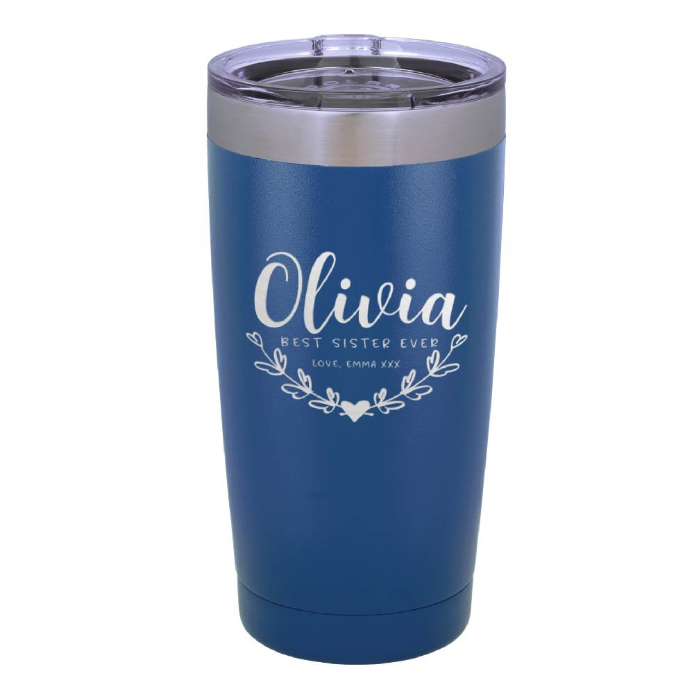 Personalized Double Wall Tumbler Drinking Thermos Insulated Travel Mug | BPA Free Different Color Options 20oz Tumbler with Lid - Best Sister Ever Gifts Free Engraving With Names #T2