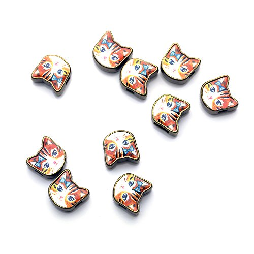 - Vintage Style Charms Kawaii Kitty Charm Antique Brass Cat Beads Flower Print Orange Tabby Black Odd Eye Cat - AC (Orange - O)