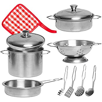 Barcaloo 11 Piece Play Pots and Pans Toy Set for Kids – Stainless Steel Pretend Cooking Pot & Pan Kitchen Toys