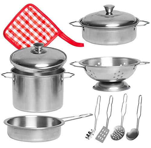 Barcaloo 11 Piece Play Pots and Pans Toy Set for Kids – Stainless Steel Pretend Cooking Pot & Pan Kitchen ()