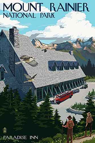 Mount Rainier National Park, Washington - Paradise Inn (24x36 SIGNED Print Master Giclee Print w/Certificate of Authenticity - Wall Decor Travel Poster)