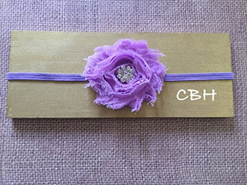 Baby Headband, Shabby Frayed Rosette Baby Photo Prop Girl, Lavender Flower Headband With Rhinestone Center, All - Picture Center Band