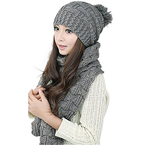 519bd5398b5 JingyangO Winter Warm Knitted Thicken Crochet Bobble Pom Pom Beanie Hat Cap  and Scarf Set for