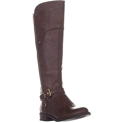 GUESS Womens Harson 5 Wide Calf Faux Leather Riding Boots | Boots