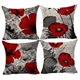 Andreannie Pack of 4 Beautiful Charming Watercolor Oil Painting Red Poppy Cotton Linen Throw Pillow Case Cushion Cover Office Decorative for Sofa Couch Bedroom Square 18 X 18 Inches ¡ (Pack of 4)