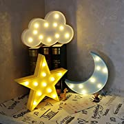 Night Lights for Kids,Decorative LED Crescent Moon, Star, Cloud Marquee Sign - Marquee Letters LED Lights - Nursery Night Lamp GIFT for Children (Star,Moon, Cloud)