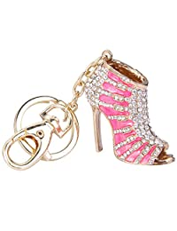 Ever Faith Women's Austrian Crystal White Enamel High Heel Shoe Keychain