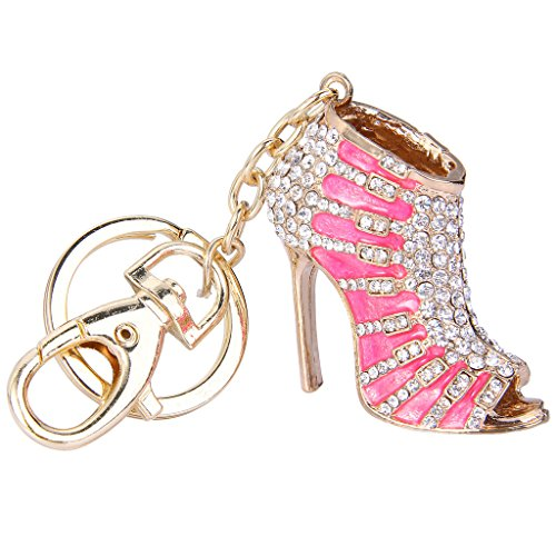 EVER FAITH Austrian Crystal Pink Enamel Sexy High Heel Shoe Keychain Clear Gold-Tone -