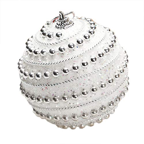 Yezijin Christmas Balls Ornaments, Christmas Rhinestone Glitter Baubles Balls Xmas Tree Ornament Decoration 8CM (White) ()