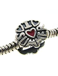 925 Sterling Silver I Love Summer Holiday Vacation Heart Enamel Bead For European Charm Bracelets