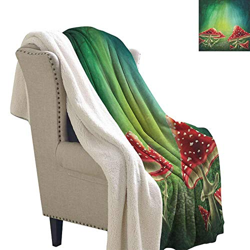 Mushroom Wool Blanket Fairy Tale Illustration with Poisonous Fungus Dreamy Fantasy Enchanted Wilderness Gift Throw Blanket for Women Men Multicolor W59 x L47 ()