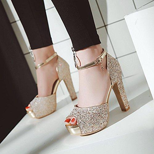 Alta 43 Sandalias Brillante De Verano color Plataforma Boda Impermeable Zapatos Moda 43 Tacn Mujer Pez Con Alto Gruesa Tama Para O Boca 31 1 nXwwaOx