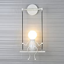 SOUTHPO LED Wall Light Fixtures Creative Cartoon Little People Wall Sconces Lighting Indoor Bedroom Hallway Shop Modern Metal Bedside Lamp Decor Adjustable Wall Lamps Swing Arm 1×E26 MAX 40W (White)