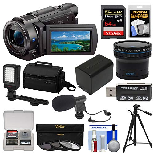 Sony Handycam FDR-AX33 Wi-Fi 4K Ultra HD Video Camera Camcorder + 64GB Card + Sony Case & Tripod + LED Light + Microphone + Battery + Fisheye Lens - Video Microphone Camera Sony