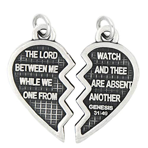 Charm - Sterling Silver - Jewelry - Pendant - Heart Christian Mizpah