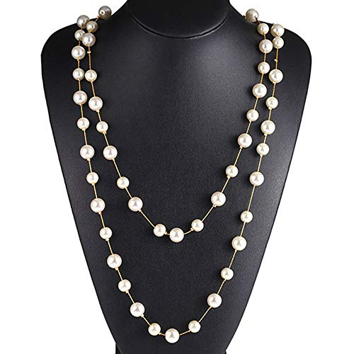 Jude Jewelers Long Double Strand Faux Pearl Statement Cocktail Party Necklace - Necklace Strand Double Faux Pearl