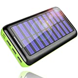 Solar Charger, Kedron 24000mAh Portable Charger Power Bank with Dual Input Port and 3 USB Output External Battery Pack Compatible iPhone, iPad, Samsung Galaxy, Android Phones and Other Devices (Green)