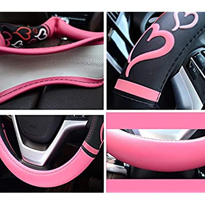 Didida Steering Wheel Covers for Women Men Couple New 3D Heart Embossing Love Cartoon Microfiber Leather Universal 15 Inch (Pink): Automotive