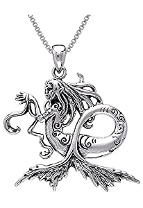 Jewelry Trends Sterling Silver Sea Mermaid Pendant on 18 Inch Box Chain Necklace by Amy Brown
