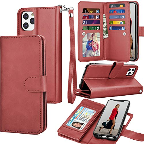 Tekcoo Wallet Case for iPhone 11 Pro / iPhone11 Pro (5.8 inch) 2019 Luxury ID Cash Credit Card Slots Holder Carrying Pouch Flip PU Leather Cover [Detachable Magnetic Hard Case] Lanyard - Wine Red