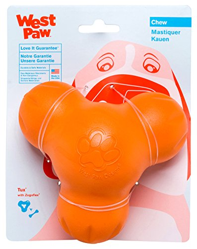 West Paw Zogoflex Tux Interactive Treat Dispensing Dog Chew Toy for Aggressive Chewers, 100% Guaranteed Tough, It Floats!, Made in USA, Small, Tangerine