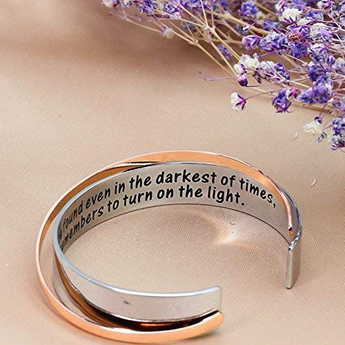 Ms. Clover Encouragement Gift, Happiness Can be Found Even in The Darkest of Times, If One Only Remembers to Turn On The Light. Message Cuff (Grey) by Ms. Clover (Image #5)