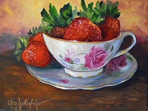 Cup and Saucer with Strawberries Poster Print by Cheri Wollenberg (18 x 24)
