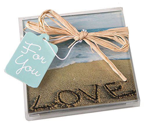 60 Beach Love Themed Set of 2 Glass Coasters From Fashioncraft ()