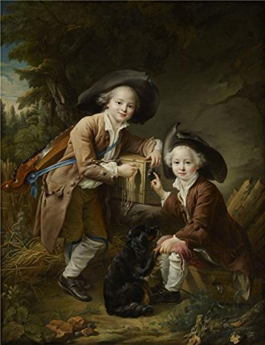 'Francois-Hubert Drouais - The Comte And Chevalier De Choiseul As Savoyards, 1758' Oil Painting, 24x31 Inch / 61x79 Cm ,printed On Perfect Effect Canvas ,this High Definition Art Decorative Prints On Canvas Is Perfectly Suitalbe For Bedroom Gallery Art And Home Decoration And Gifts - Trio Wall Lighting