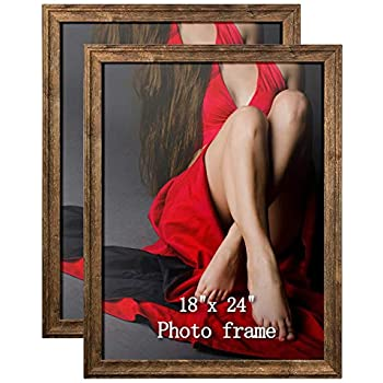 Artsay 18x24 Poster Picture Frames Rustic Distressed Photo Frame 18 x 24 Set, Wall Hanging, 2 Pack, Brown