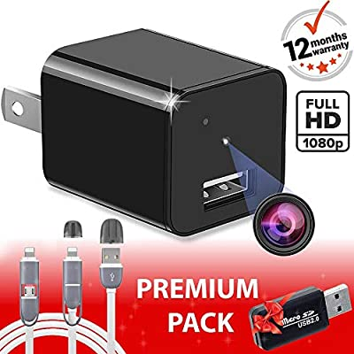 Spy Camera - Hidden Camera - Premium Pack - HD 1080P - Motion Detection - USB Hidden Camera - Surveillance Camera - Mini spy Camera - Nanny Camera - Best Spy Camera Charger - Hidden Camera Charger