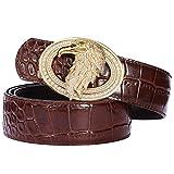 Men's Belts Luxury Genuine Leather Brown Dress Belt for Men Alligator Pattern Eagle Plaque Buckle