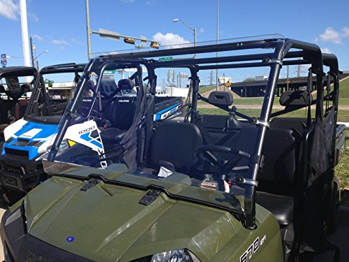 A&S AUDIO AND SHIELD DESIGNS 2016-2019 POLARIS RANGER 570 FULL SIZE CREW 3/16 POLYCARBONATE FULL WINDSHIELD ()
