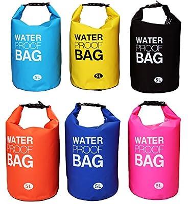 Langxun Waterproof Dry Bag, 500D PVC Fabric, 5L, 10L, 20L for Diving, Kayaking, Swimming, Boating, Fishing, Camping, Canoeing, Rafting, Snowboarding | Watertight Roll-Top Closure & Detachable Adjustable Shoulder Strap